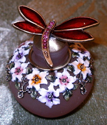 Dragonfly and Flowers Pink Glass Jeweled Enamel Pewter Perfume Bottle