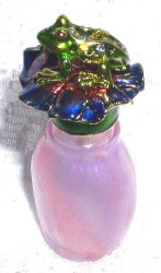 Enamel Frog and Lilypad Painted Pink Glass with Crystals Pewter Perfume Bottle