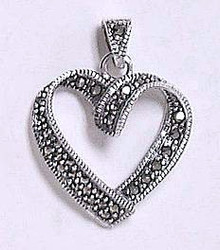 Stunning Open Heart Genuine Swiss Marcasite .925 Sterling Silver Pendant