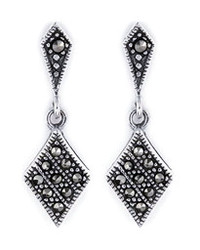 Marcasite Diamond Shaped Sterling Silver Drop Earrings
