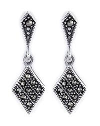 Marcasite Diamond Shaped Sterling Silver Drop Earrings