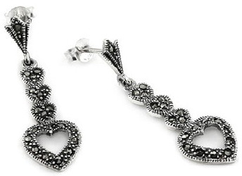 Fancy Four Heart Dangle Marcasite Sterling Silver Earrings