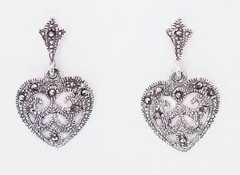 Lovely Marcasite Heart Filigree Sterling Silver Earrings
