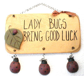 "Good Luck Ladybugs 9"" 3-D Wood Hanger Sign Folk Art"