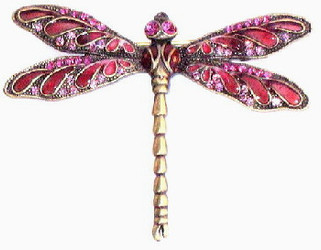 Pink Wing Dragonfly Bronzed Pewter and Crystal Enamel Pin