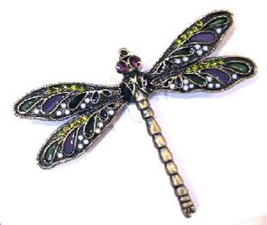 Purple Wing Dragonfly Bronzed Pewter Crystal Enamel Pin Brooch