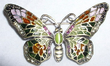 Pink and Green Butterfly Bronzed Pewter Crystal and Enamel Pin