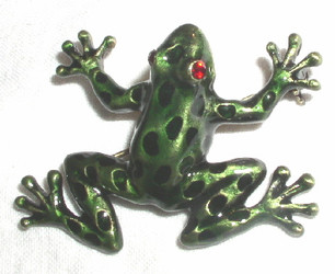 Enamel and Crystal Green Leopard Frog Bronzed Pewter Pin