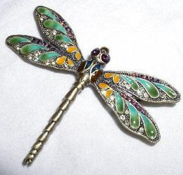 Green Wing Dragonfly Antique Brass Finish Pewter Crystal Enamel Pin