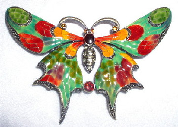 Green and Red Butterfly Bronzed Pewter Crystal and Enamel Pin Brooch