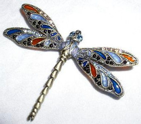 Blue Wing Dragonfly Bronzed Pewter and Crystal Enamel Pin