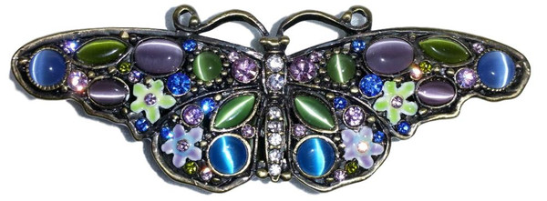 Bejeweled Blue Butterfly and Flowers Enamel Crystal Trinket Box and Pin