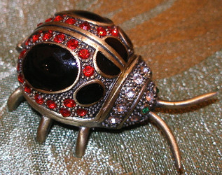 Jeweled Red Ladybug Crystal and Enamel Pewter Hinged Trinket Box