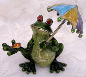 Green Frog under Colorful Umbrella Enamel Crystal Jewelry Trinket Box
