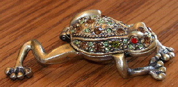 Green Amber Crystal Tree Frog Pewter Hinged Trinket Box
