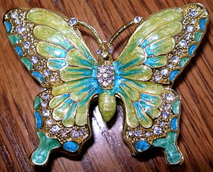 Lovely Blue Green Butterfly Enamel and Austrian Crystal Trinket Box and Brooch