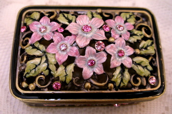 Jeweled Pink Flower and Crystal Enamel Jewelry Trinket Box