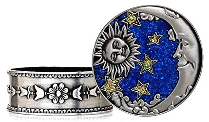 Celestial Sun Moon Stars Enamel and Pewter Round Jewelry Trinket Box