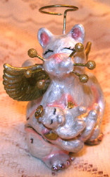 Whimsiclay Angel Cat Mama Mom and Kitten Enamel Jewelry Trinket Box