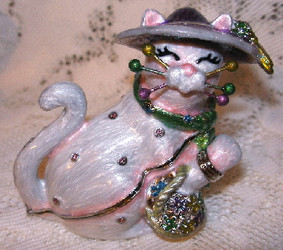 Whimsiclay Garden Cat in Hat with Flowers Jeweled Enamel Jewelry Trinket Box