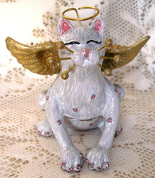 "Whimsiclay ""Angelica"" Angel Cat Kitten Jeweled Enamel Jewelry Trinket Box"