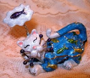 Whimsiclay Sweet Dreams Cat and Fish Jeweled Enamel Trinket Box