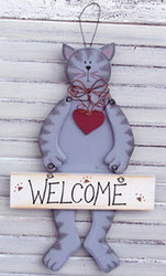 "Grey Tabby Cat and Red Heart ""Welcome"" 12.5"" Wood Hanger Folk Art"