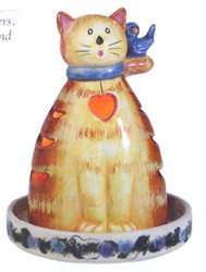 "Garden Tabby Cat Hand Painted Ceramic 6"" Candle Holder by Kathy Hatch"