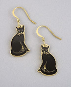 Black Cat Kitten Enamel and Gold 22ct Dangle Earrings