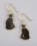 Black Cat Kitten Enamel and Gold 22ct Dangle Earrings