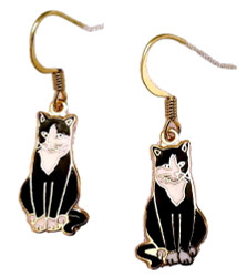 Black and White Tuxedo Cat Kitten 22ct Gold Plated Enamel Earrings