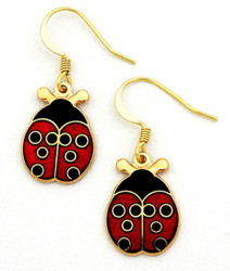 Red Ladybug Enamel and Gold 22ct Plated Dangle Earrings