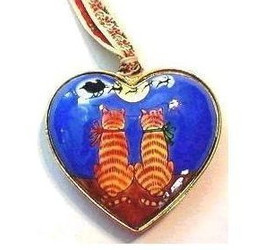 Sweet Tabby Cats and Santa Enamel Heart Ornament by Kelvin Chen