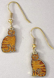 Ginger Orange Tabby Cat Kitten Enamel and 22ct Gold Plated Dangle Earrings