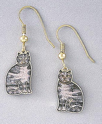 Sweet Grey Tabby Cat Kitten Enamel and 22ct Gold Plated Earrings