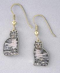 Sweet Grey Tabby Cat Kitten Enamel and 22ct Gold Plated Earrings