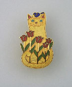 Ginger Orange Tabby Cat Kitten and Red Tulips Enamel Pin Brooch