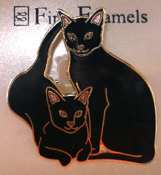 Black Cat Kitten Friends 22ct Gold Plated Enamel Pin Brooch