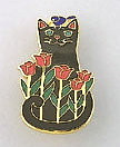 Sweet Black Cat Kitten Pink Tulip Flower and Bird Enamel Pin