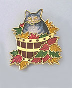 Grey Tabby Cat in Bucket with Fall Leaves Enamel Pin Brooch