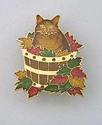 Brown Tabby Cat with Fall Leaves in Bucket Enamel Pin Brooch