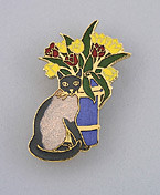 Siamese Cat Kitten with Flower Vase Large Enamel Pin Brooch