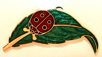 Lovely Red Ladybug on Green Leaf 22ct Gold Plated Enamel Pin Brooch