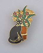 Black Cat Kitten and Flower Vase Large Enamel Pin Brooch