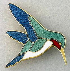 Green Ruby-Throated Hummingbird Large Enamel Pin Brooch