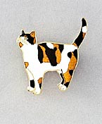 Calico Cat Kitten Large Hand Painted Enamel Pin Brooch