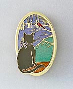 Black Cat at Window Enamel and Gold Oval Pin Brooch Summer Version