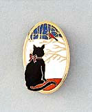Black Cat at Window Enamel and Gold Oval Pin Brooch Winter Version