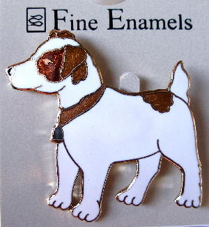Sweet Jack Russell Terrier Dog 22ct Gold Plated Enamel Pin Brooch