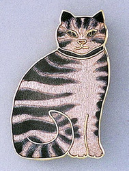 Pretty Grey Tabby Cat Kitten Large Enamel 22Kt Gold Plated Pin Brooch